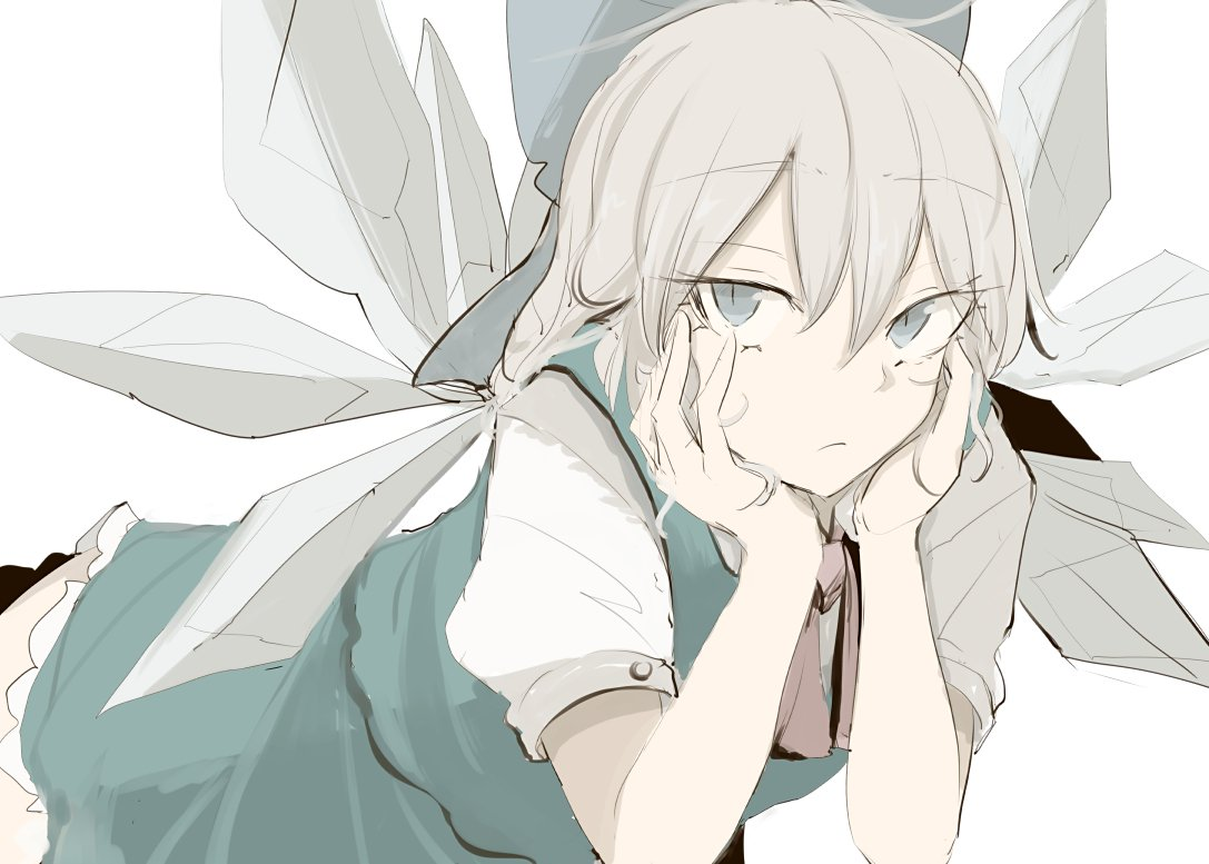 1girl alternate_hair_color blue_eyes cirno commentary_request eyes_visible_through_hair frilled_skirt frills green_skirt green_vest grey_hair hands_on_own_cheeks hands_on_own_face leaning_forward light_frown looking_at_viewer ne_kuro neck_ribbon pale_skin red_ribbon ribbon shirt short_sleeves skirt solo touhou vest white_shirt