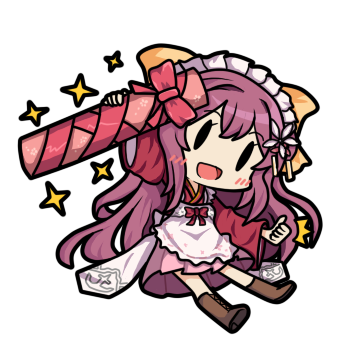 1girl apron bamomon bow chibi fairy_(kantai_collection) frilled_apron frills full_body gift hair_bow hakama japanese_clothes kamikaze_(kantai_collection) kantai_collection kimono long_hair looking_at_viewer lowres maid_headdress meiji_schoolgirl_uniform open_mouth pink_hakama purple_hair red_kimono simple_background smile solid_oval_eyes solo sparkle tube upper_body white_apron white_background yellow_bow