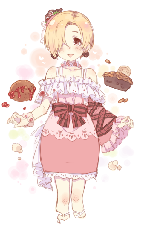 1girl 7010 asymmetrical_sleeves blonde_hair blush bow brown_eyes chocolate dress earrings food_themed_hair_ornament frilled_sleeves frills hair_ornament hair_over_one_eye hood hood_down idolmaster idolmaster_cinderella_girls jewelry looking_at_viewer open_mouth shirasaka_koume short_hair sketch smile solo translation_request