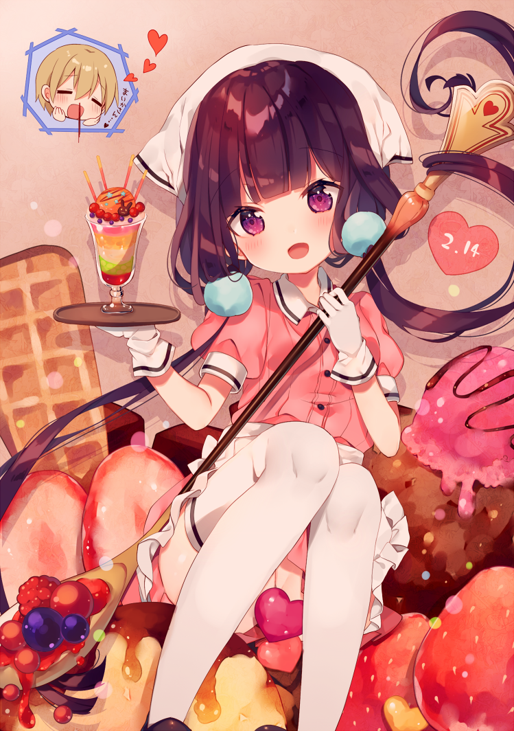 1boy 1girl :d ana_(rznuscrf) apron bangs blend_s blood blueberry blush closed_eyes collared_shirt commentary_request dated dino_(blend_s) eyebrows_visible_through_hair food frilled_apron frills fruit gloves hair_between_eyes head_scarf head_tilt heart holding holding_spoon holding_tray ice_cream light_brown_hair looking_at_viewer nosebleed open_mouth oversized_object parfait pink_shirt pink_skirt puffy_short_sleeves puffy_sleeves purple_hair raspberry sakuranomiya_maika shirt short_sleeves sitting skirt smile stile_uniform strawberry thigh-highs tray uniform violet_eyes waffle waist_apron waitress white_apron white_gloves white_legwear