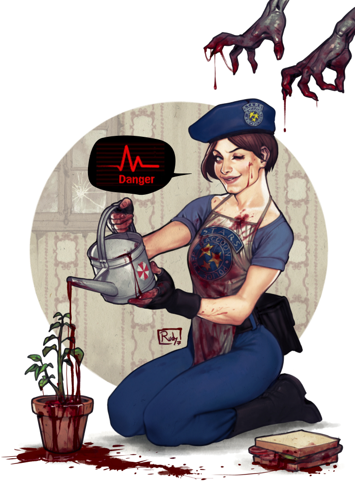 1girl ;d apron beret blood blood_on_face bloody_clothes bloody_hands boots darkdux fanny_pack fingerless_gloves gloves hat jill_valentine lips looking_at_viewer one_eye_closed open_mouth out_of_frame pants plant police resident_evil seiza shirt short_hair sitting smile solo_focus t-shirt umbrella_corporation_(logo) watering_can zombie
