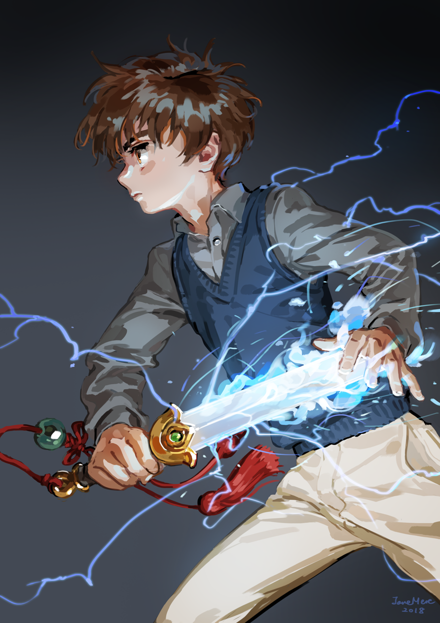 1boy 2018 artist_name brown_hair card_captor_sakura closed_mouth collared_shirt electricity fighting_stance glowing glowing_sword glowing_weapon gradient gradient_background grey_background grey_shirt highres holding holding_sword holding_weapon jane_mere legs_apart li_xiaolang long_sleeves male_focus pants profile serious shirt standing sweater_vest sword tassel weapon white_pants wing_collar