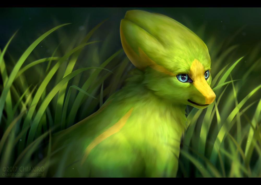 2017 blue_eyes chiakiro electrike grass green_skin looking_away no_humans pokemon pokemon_(creature) pokemon_(game) pokemon_rse realistic signature solo watermark web_address