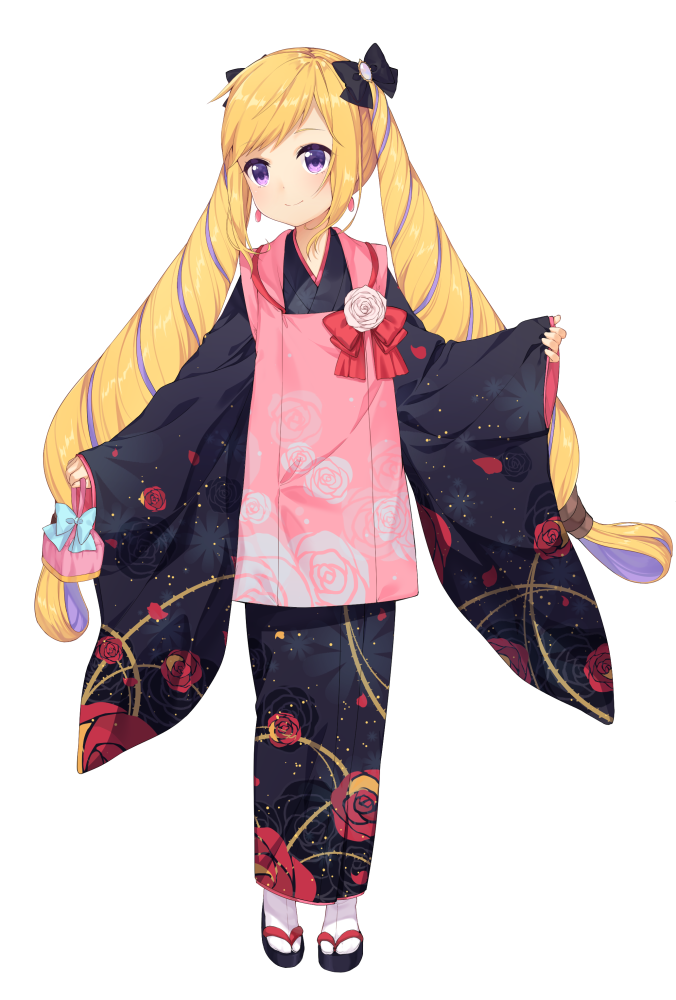 1girl bangs black_footwear black_kimono blonde_hair blue_bow blush bow closed_mouth earrings elise_(fire_emblem_if) fire_emblem fire_emblem_if floral_print flower full_body gem geta hair_bow holding_bag japanese_clothes jewelry kimono long_hair long_sleeves looking_at_viewer multicolored_hair pink_flower pink_rose print_kimono purple_hair red_bow rose rose_print shiny shiny_hair simple_background sleeves_past_wrists smile solo standing swept_bangs tabi transistor two-tone_hair very_long_hair violet_eyes white_background white_legwear wide_sleeves