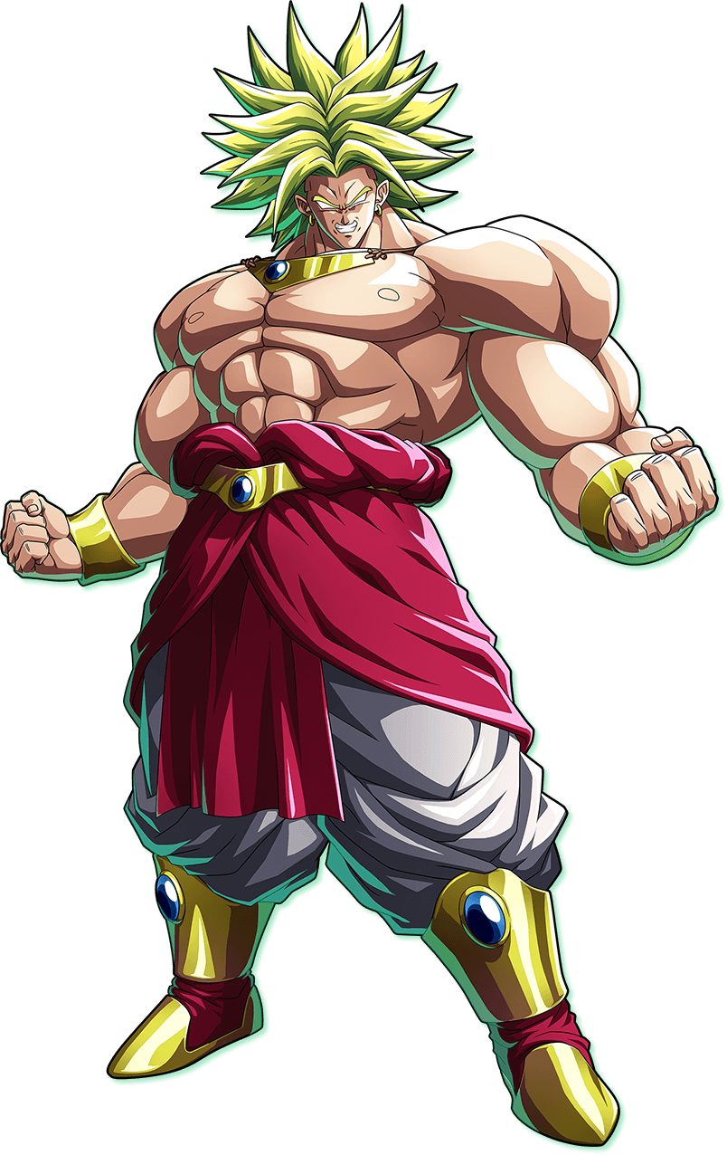 1boy bandai_namco biceps bracer broly clenched_hands clenched_teeth dragon_ball dragon_ball_fighterz dragonball_z earrings empty_eyes full_body highres jewelry looking_at_viewer official_art pectorals shirtless solo spiky_hair super_saiyan teeth transparent_background