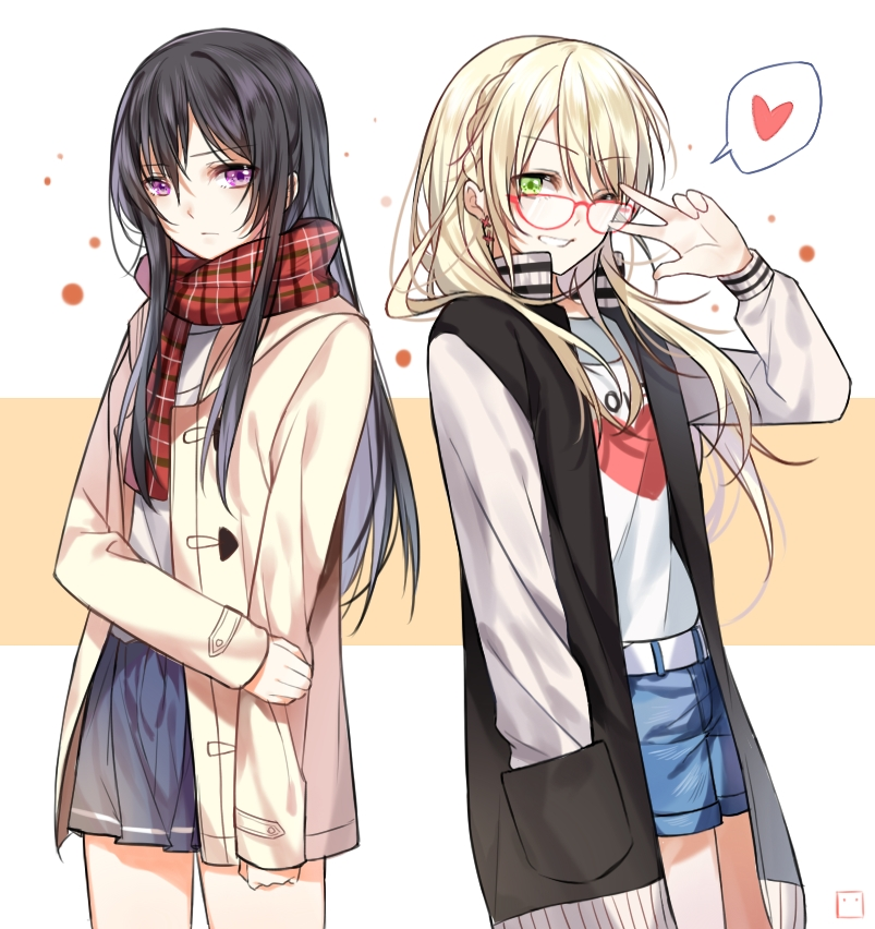 2girls aihara_mei aihara_yuzu alternate_costume black_hair blonde_hair blush chi_zu_crazy citrus_(saburouta) commentary_request earrings green_eyes hair_between_eyes hand_in_pocket heart jacket jewelry long_hair long_sleeves looking_at_viewer multiple_girls one_eye_closed plaid plaid_scarf pleated_skirt pose scarf skirt smile spoken_heart v v_over_eye violet_eyes