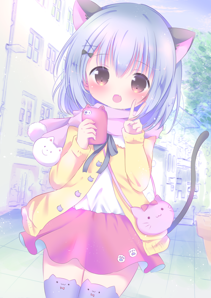 1girl :d animal_bag animal_band_legwear animal_ears bangs black_bow blue_hair blue_sky blush bow brown_eyes building cardigan cat_bag cat_band_legwear cat_day cat_ears cat_girl cat_tail cellphone clouds commentary_request day eyebrows_visible_through_hair fang hair_between_eyes hair_bow hair_ornament hands_up holding holding_cellphone holding_phone long_sleeves looking_at_viewer open_cardigan open_clothes open_mouth original outdoors phone pink_scarf pink_skirt purple_legwear rin_(fuwarin) scarf shirt skirt sky smile solo tail thigh-highs v white_shirt x_hair_ornament yellow_cardigan