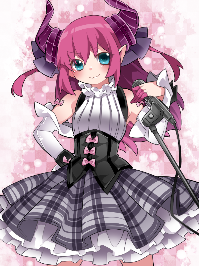 1girl aqua_eyes bare_shoulders commentary_request elizabeth_bathory_(fate) elizabeth_bathory_(fate)_(all) fate/extra fate/extra_ccc fate/grand_order fate_(series) hair_ribbon halterneck hammer_(sunset_beach) hand_on_hip horns long_hair looking_at_viewer microphone microphone_stand pink_hair plaid plaid_skirt pointy_ears ribbon skirt smirk solo