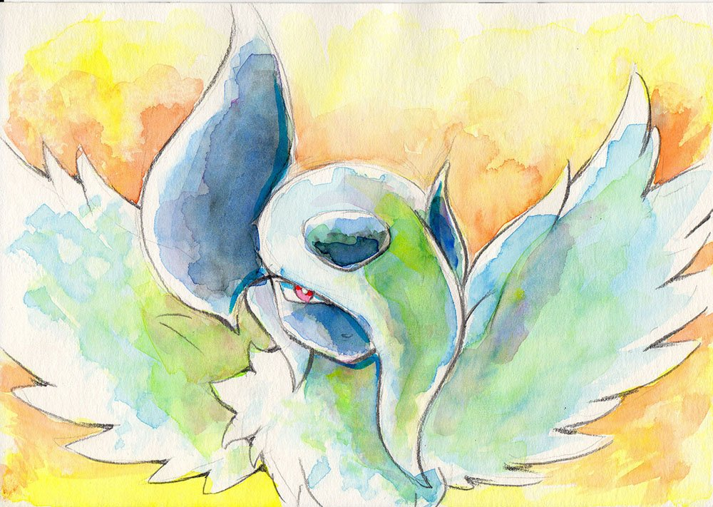 absol hair_over_one_eye horns iwane_masaaki long_hair looking_at_viewer mega_absol mega_pokemon no_humans pokemon pokemon_(creature) red_eyes solo traditional_media watercolor_(medium) white_hair wings