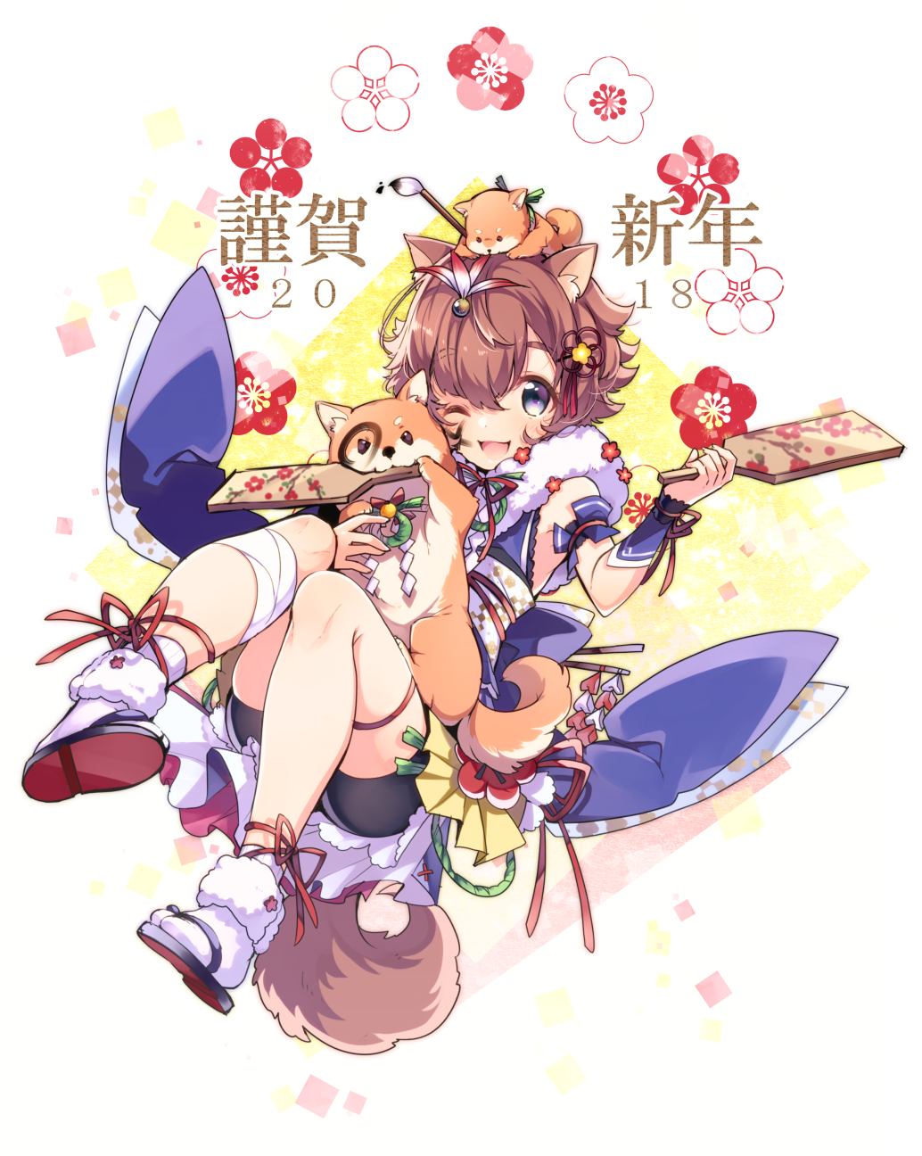 1girl 2018 :3 :d akeome animal animal_ears animal_on_head bandage bandaged_leg bangs bike_shorts blue_eyes blush bracer brown_hair commentary_request dog dog_ears dog_on_head dog_tail eyebrows_visible_through_hair facepaint feet hagoita hair_between_eyes hanetsuki happy_new_year highres holding japanese_clothes kimono new_year obi on_head one_eye_closed open_mouth original paddle revision sash short_hair short_kimono smile tail u35 year_of_the_dog
