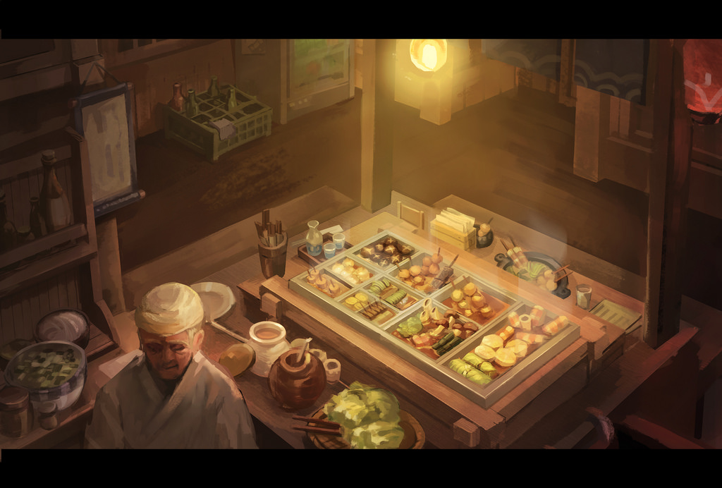 1boy bottle cabbage ceiling_light chef chikuwa choko_(cup) chopsticks crate cup curtains daikon doufu_(gumeng) food from_above glass hanging_scroll indoors letterboxed mushroom old_man original plate restaurant scroll skewer solo steam sukiyaki tokkuri vending_machine