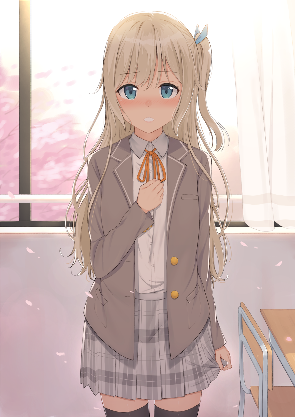 1girl arm_at_side bangs black_legwear blonde_hair blue_eyes blush buttons chair cherry_blossoms classroom commentary_request cowboy_shot curtains day desk dress_shirt eyebrows_visible_through_hair hair_ribbon hand_on_own_chest highres indoors jacket long_hair long_sleeves looking_at_viewer mirai_(mirai76_) neck_ribbon nose_blush one_side_up original parted_lips petals plaid plaid_skirt pleated_skirt ribbon school_desk school_uniform shirt skirt solo standing thigh-highs white_shirt window wing_collar zettai_ryouiki