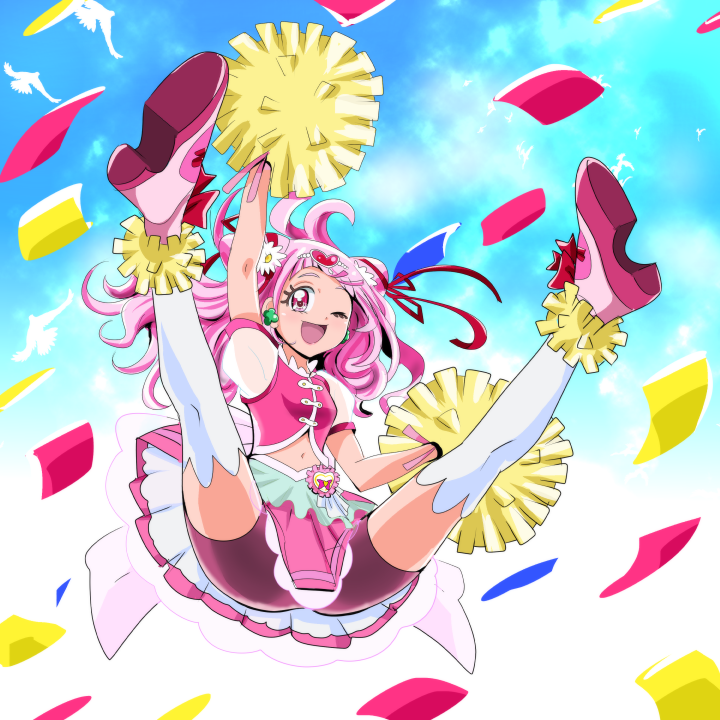 1girl ;d aitaso bike_shorts bird cheerleader confetti cure_yell double_bun earrings full_body hair_ornament hair_ribbon heart heart_hair_ornament hugtto!_precure jewelry jumping layered_skirt long_hair looking_at_viewer magical_girl navel nono_hana one_eye_closed open_mouth pink_eyes pink_footwear pink_hair pink_shirt pink_shorts pink_skirt pom_poms precure red_ribbon ribbon shirt shoes shorts shorts_under_skirt skirt sky sleeveless sleeveless_shirt smile solo spread_legs thigh-highs white_legwear