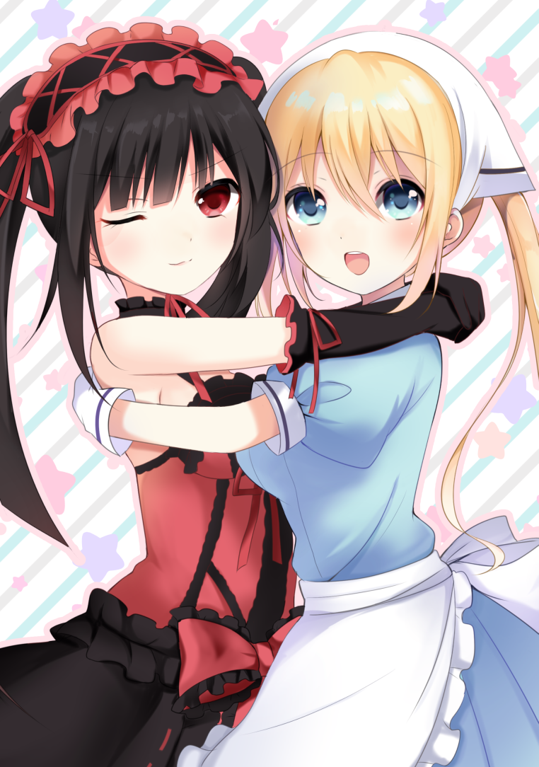 2girls :d apron armpits bare_shoulders black_hair blend_s blonde_hair blue_dress blue_eyes blush breast_press breasts choker commentary_request cowboy_shot crossover date_a_live diagonal_stripes dress elbow_gloves gloves hair_between_eyes hairband head_scarf hinata_kaho hug lolita_fashion lolita_hairband long_hair maid medium_breasts multiple_girls one_eye_closed open_mouth puffy_short_sleeves puffy_sleeves red_eyes ribbon-trimmed_dress shiratoriko short_sleeves smile star starry_background striped striped_background tokisaki_kurumi twintails upper_teeth waist_apron white_apron