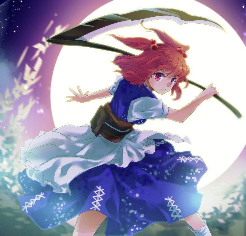 1girl blue_skirt bush closed_mouth commentary_request cowboy_shot feet_out_of_frame fighting_stance full_moon hair_bobbles hair_ornament holding holding_scythe makuwauri medium_hair moon night obi onozuka_komachi open_hand outdoors red_eyes redhead sash scythe serious shirt short_sleeves skirt skirt_set sky solo standing star_(sky) starry_sky touhou two_side_up white_legwear white_shirt