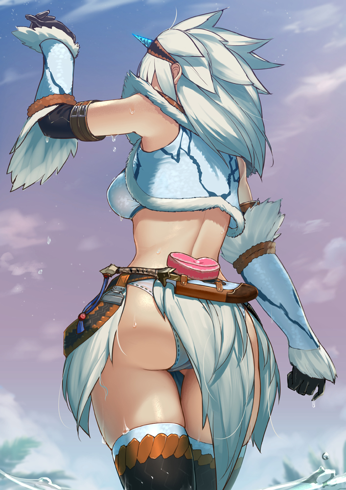 1girl arm_up ass back backboob bare_shoulders boots breasts clouds crop_top dagger elbow_gloves from_behind fur_trim gloves heart horn_ornament iltusa kirin_(armor) medium_breasts midriff monster_hunter monster_hunter:_world outdoors panties panty_peek partially_submerged pelvic_curtain skirt sky sleeveless solo standing thigh-highs thigh_boots underwear vambraces water weapon wet white_hair
