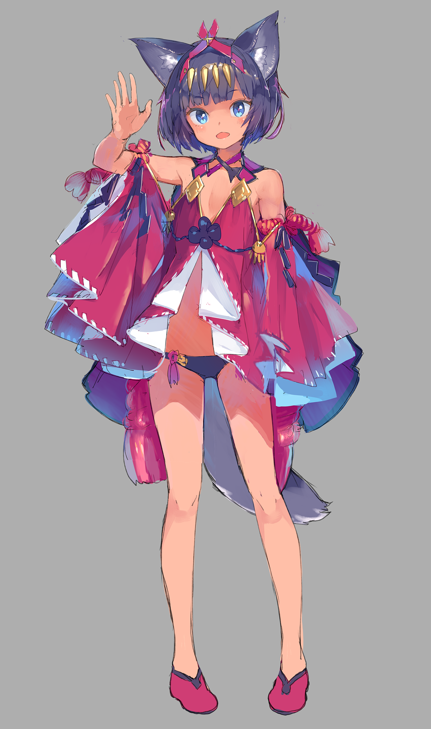 1girl :d animal_ears arm_at_side arm_up bare_shoulders black_hair black_panties blue_eyes blush cat_ears eyebrows_visible_through_hair flat_chest fox_ears fox_tail full_body grey_background headpiece highres legs_apart long_sleeves looking_at_viewer no_socks open_mouth original panties pigeon-toed red_footwear revealing_clothes shinbasaki shiny shiny_hair short_hair simple_background sketch smile solo standing tail underwear wide_sleeves
