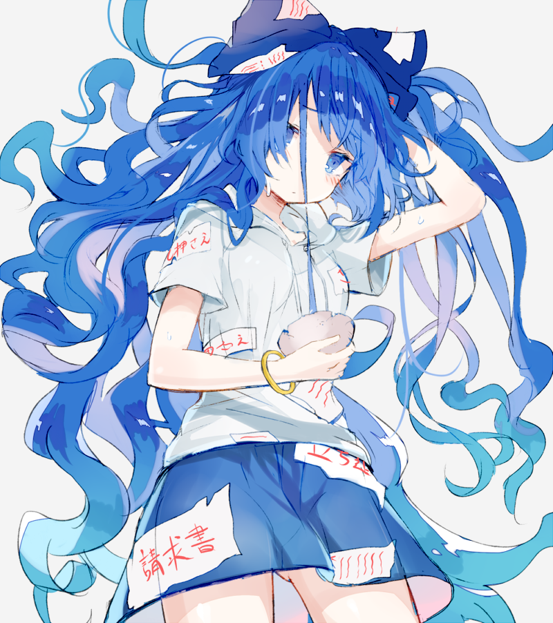1girl bangle blue_bow blue_eyes blue_hair blue_skirt bow bowl bracelet cowboy_shot debt floating_hair grey_background hair_bow hand_up holding hood hood_down hoodie jewelry long_hair looking_at_viewer miniskirt nuudoru simple_background sketch skirt solo standing sweat touhou very_long_hair yorigami_shion