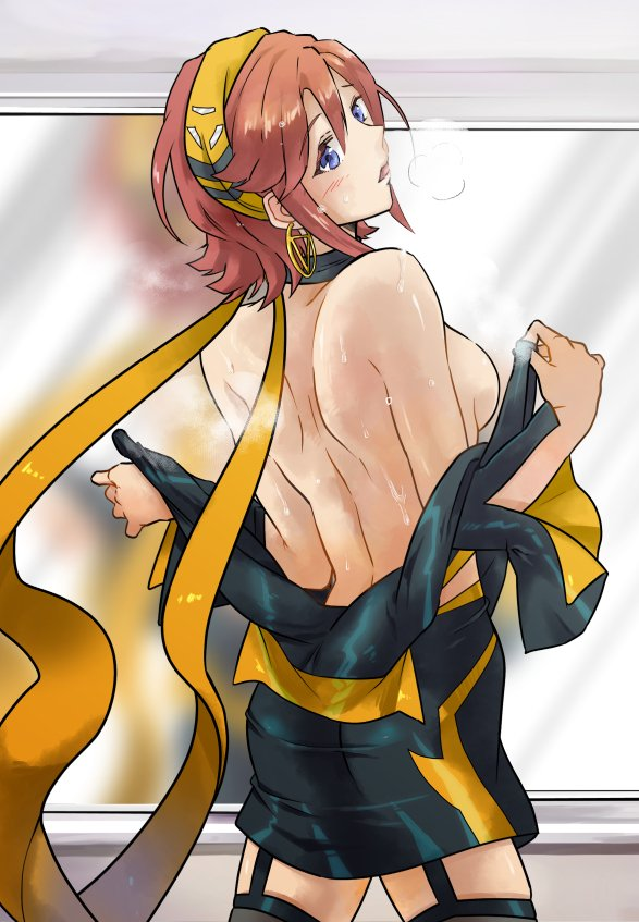 1girl blue_eyes breasts breath earrings from_behind hair_ribbon hot jewelry kaname_buccaneer looking_at_viewer macross macross_delta medium_breasts paitan_beau pose redhead ribbon short_hair sideboob skin_tight steam sweat sweating sweating_profusely topless undressing