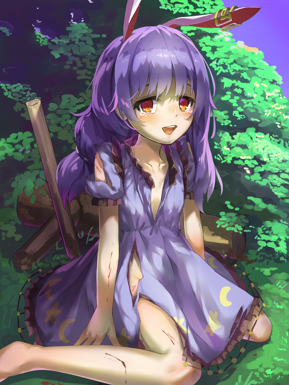 1girl animal_ears arms_at_sides bangs blood_on_arm blood_on_leg blue_dress blue_hair braided_ponytail broken broken_weapon bush collarbone crescent_moon_symbol cuts day dress ear_clip eyelashes foot_out_of_frame grass highres injury kine open_mouth outdoors piyodesu rabbit_ears red_eyes seiran_(touhou) short_hair short_sleeves sitting solo star tearing_up torn_clothes torn_dress touhou wariza weapon