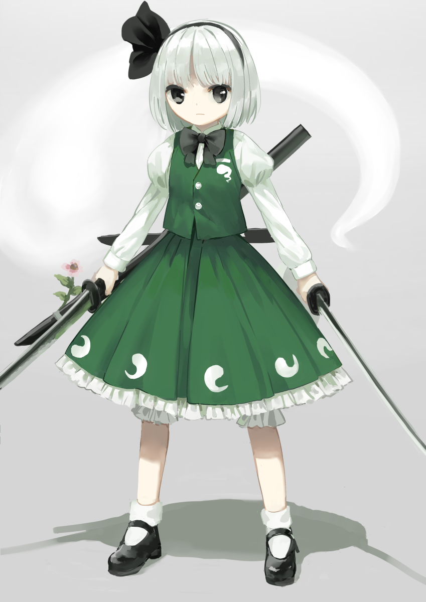 1girl bangs black_bow black_eyes black_footwear black_hairband black_neckwear black_ribbon bloomers blunt_bangs bow bowtie closed_mouth dual_wielding fighting_stance flower frilled_skirt frills green_vest hair_ribbon hairband highres hitodama holding holding_sword holding_weapon juliet_sleeves katana konpaku_youmu konpaku_youmu_(ghost) legs_apart long_sleeves looking_at_viewer mary_janes medium_skirt puffy_sleeves ribbon serious shoes short_hair silver_hair skirt socks solo standing suna_(s73d) sword tareme touhou underwear unsheathed vest weapon white_legwear