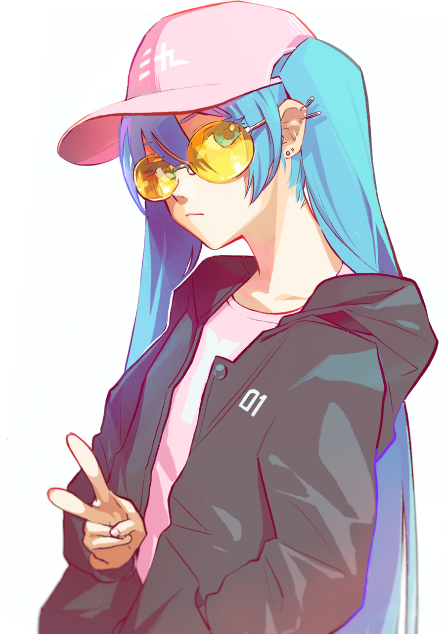 1girl baseball_cap blue_eyes blue_hair closed_mouth collarbone ear_piercing eyebrows_visible_through_hair hat hatsune_miku highres long_hair looking_at_viewer piercing pine_(yellowpine112) solo sunglasses twintails v very_long_hair vocaloid