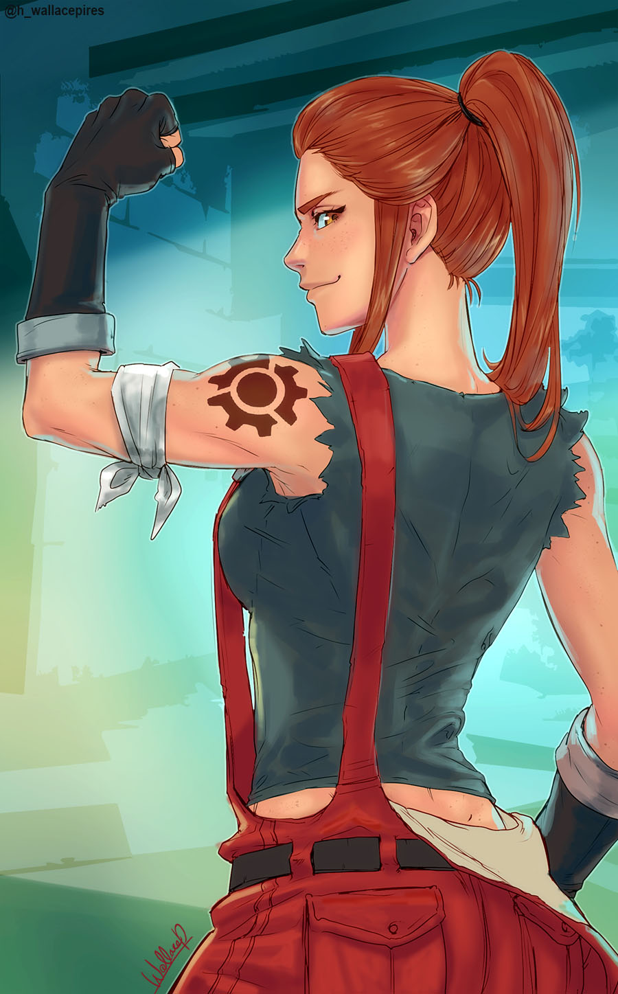 1girl bandage bandaged_arm black_gloves breasts brigitte_lindholm brown_eyes brown_hair commentary fingerless_gloves flexing from_behind gloves highres long_hair looking_at_viewer looking_back overalls overwatch ponytail pose shoulder_tattoo sidelocks sleeveless smile solo tattoo thick_eyebrows toned wallace_pires