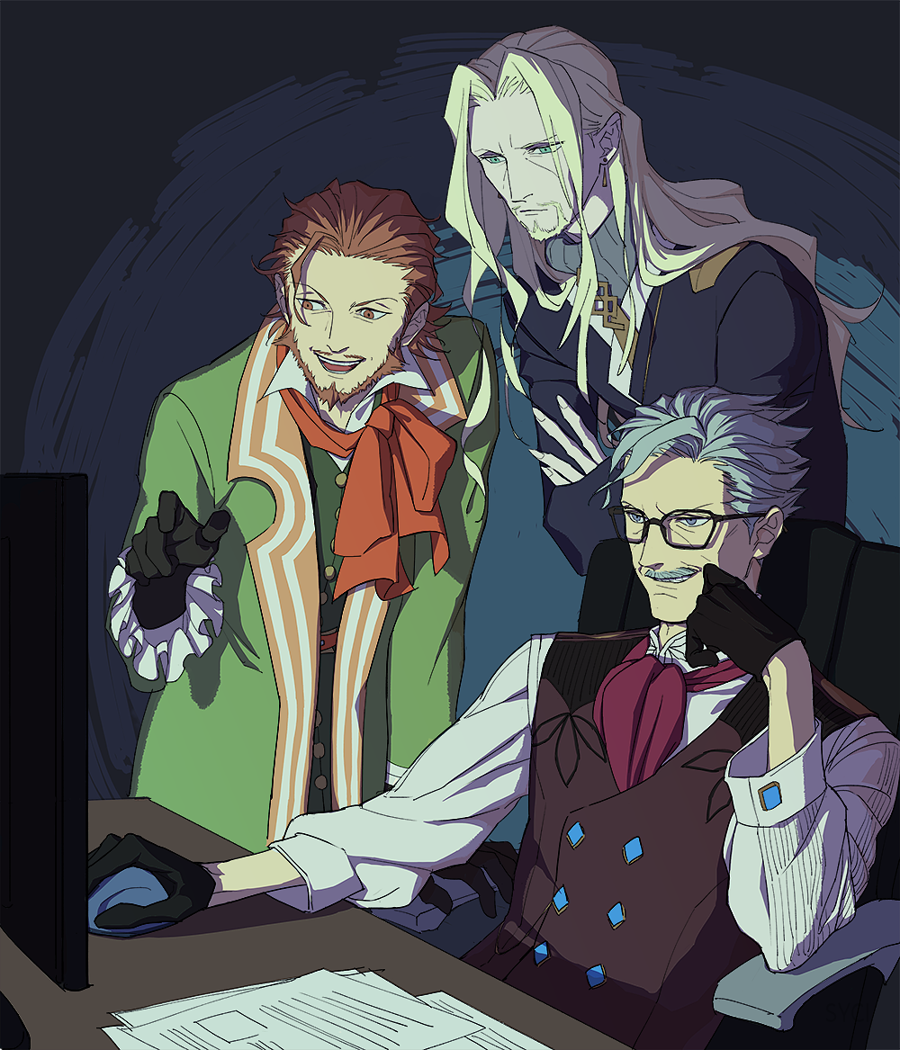 3bosy arm_support ascot beard black-framed_eyewear black_gloves blonde_hair blue_eyes brown_eyes brown_hair character_request coat computer_mouse crossed_arms earrings facial_hair fate/grand_order fate_(series) frilled_sleeves frills glasses gloves green_coat grey_hair grin hand_on_own_cheek james_moriarty_(fate/grand_order) jewelry leaning_forward long_hair long_sleeves male_focus military military_uniform monitor mustache open_clothes open_coat paper parted_lips pointing purple_neckwear shirt sitting smile standing syci_colo table teeth uniform vest vlad_iii_(fate/apocrypha) wavy_hair white_shirt