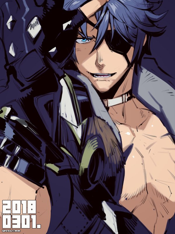 1boy armor eyepatch fujimoto_hideaki gloves jacket looking_at_viewer male_focus short_hair sieg_b_goku_genbu silver_hair smile solo xenoblade xenoblade_2