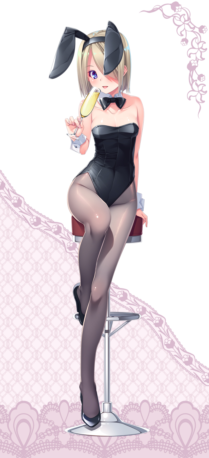1girl animal_ears black_legwear black_leotard black_neckwear blonde_hair bow bowtie bunny_girl bunnysuit cup detached_collar drinking_glass full_body hair_over_one_eye highres leotard looking_at_viewer nyangoro original pantyhose rabbit_ears short_hair sitting solo stool strapless strapless_leotard violet_eyes wine_glass wrist_cuffs