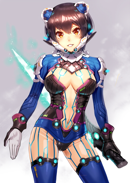 1girl arms_at_sides bangs black_panties blue_legwear blush breasts brown_hair center_opening cleavage contrapposto energy_sword glowing glowing_sword glowing_weapon grey_background headgear holding holding_sword holding_weapon leotard medium_breasts navel ogino_(oginogino) orange_eyes original panties parted_lips revealing_clothes reverse_grip shiny shiny_hair shoulder_pads simple_background smile solo standing stomach sword tareme thigh-highs underwear weapon