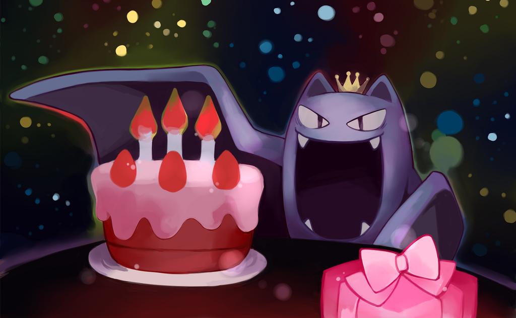 bat birthday birthday_cake cake candle commentary crown fang food golbat no_humans pokemon pokemon_(game) pokemon_rgby present wings yiq