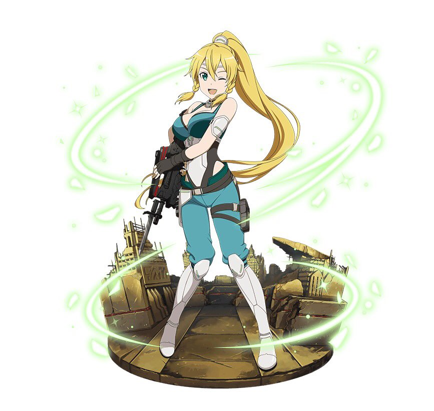 1girl ;d armor armored_boots black_gloves blonde_hair blue_pants boots braid breasts cleavage faux_figurine fingerless_gloves floating_hair full_body gloves green_eyes grey_footwear gun hair_between_eyes high_ponytail highleg highleg_leotard holding holding_gun holding_weapon holster large_breasts leafa leotard long_hair one_eye_closed open_mouth pants rifle simple_background sleeveless smile solo sword_art_online thigh_holster twin_braids very_long_hair weapon white_background