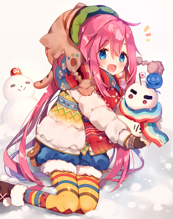 1girl :d ana_(rznuscrf) animal_hat bangs beanie black_gloves blue_eyes blue_shorts blush brown_footwear brown_hat cat_hat commentary_request eyebrows_visible_through_hair fingerless_gloves fur-trimmed_boots fur-trimmed_shorts fur_trim gloves hair_between_eyes hat japanese_flag kagamihara_nadeshiko long_hair long_sleeves looking_at_viewer open_mouth pantyhose pink_hair puffy_shorts scarf short_shorts shorts smile snow snowman solo striped striped_legwear very_long_hair white_coat yellow_legwear yurucamp