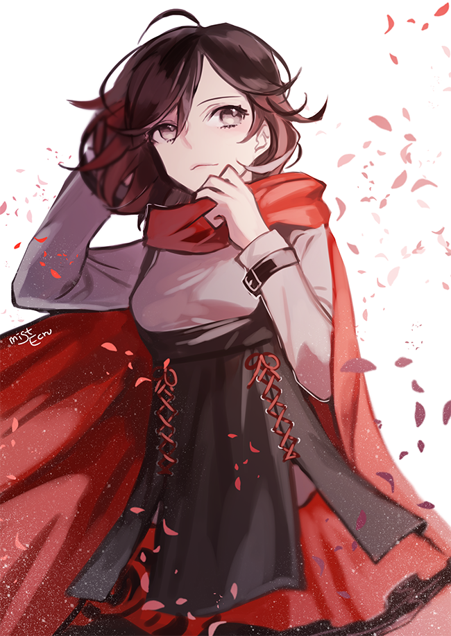 1girl cape corset ecru grey_eyes holding_head petals redhead ruby_rose rwby solo twitter_username