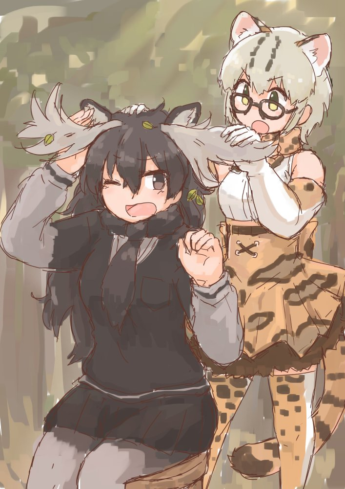 2girls animal_ears antlers bare_shoulders bow bowtie cat_ears cat_tail elbow_gloves eyebrows_visible_through_hair glasses gloves hand_on_another's_head kemono_friends leaf long_hair long_sleeves margay_(kemono_friends) margay_print moose_(kemono_friends) moose_ears multicolored_hair multiple_girls one_eye_closed open_mouth pleated_skirt rumenia_(ao2is) scarf short_hair sitting skirt stool sweater tail thigh-highs