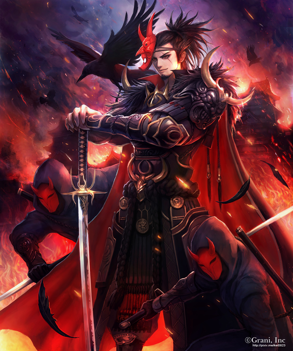 3boys architecture armor bird black_feathers bracer cape east_asian_architecture facial_hair goatee highres hood katana kei1115 male_focus mask mask_on_head multiple_boys oni_mask outdoors planted_weapon raven_(animal) red_eyes scar scar_across_eye sheath shingoku_no_valhalla_gate shoulder_spikes spikes standing sword watermark weapon web_address