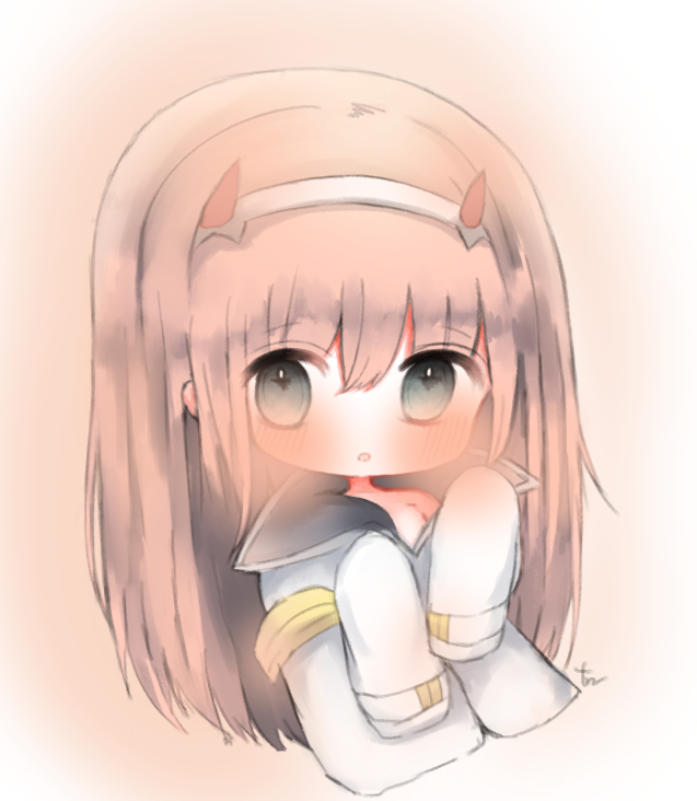 1girl :o bangs blush brown_hair cottontailtokki darling_in_the_franxx eyebrows_visible_through_hair grey_eyes hair_between_eyes hands_up horns jacket long_hair long_sleeves looking_at_viewer parted_lips signature sleeves_past_fingers sleeves_past_wrists solo very_long_hair white_jacket zero_two_(darling_in_the_franxx)
