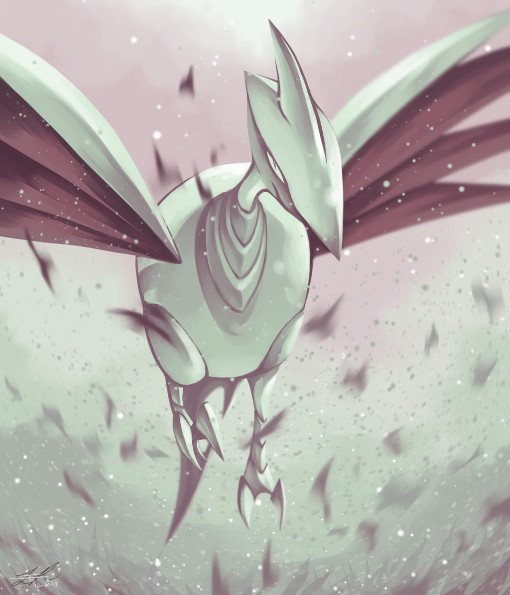 commentary dated full_body looking_at_viewer metal_skin no_humans pokemon pokemon_(creature) pokemon_(game) pokemon_gsc rock-bomber signature skarmory solo