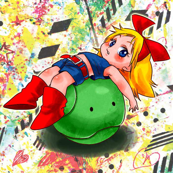 1girl abstract_background bare_arms belt blonde_hair blue_eyes blue_shirt blue_shorts blush boots child commentary commentary_request full_body gundam hair_ribbon haro heart long_hair looking_at_viewer lying midriff mobile_suit_gundam multicolored multicolored_background on_back parted_lips red_belt red_footwear red_ribbon ribbon shirt shorts sleeveless sleeveless_shirt solo star suminoe_misaki