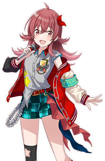 1girl armband blue_shorts bow emblem eyebrows_visible_through_hair frills grey_shirt hair_bow idol_clothes idolmaster idolmaster_shiny_colors jacket looking_at_viewer medium_hair microphone mismatched_legwear official_art open_mouth pink_eyes pink_hair red_bow red_jacket shirt shorts smile solo star thigh-highs