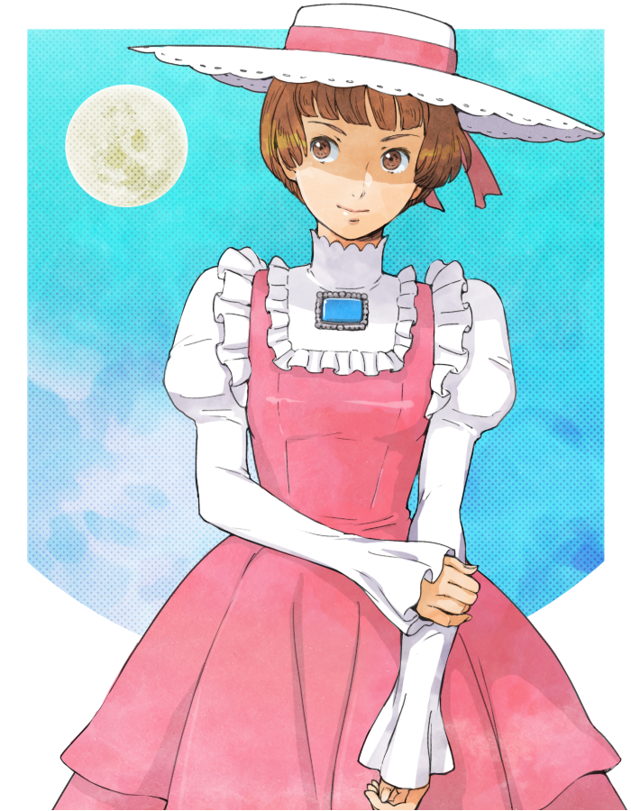 1girl bangs blue_background blunt_bangs brooch brown_eyes brown_hair dress frills gundam hat jewelry kei-co looking_to_the_side moon pink_dress short_hair sochie_heim solo turn_a_gundam