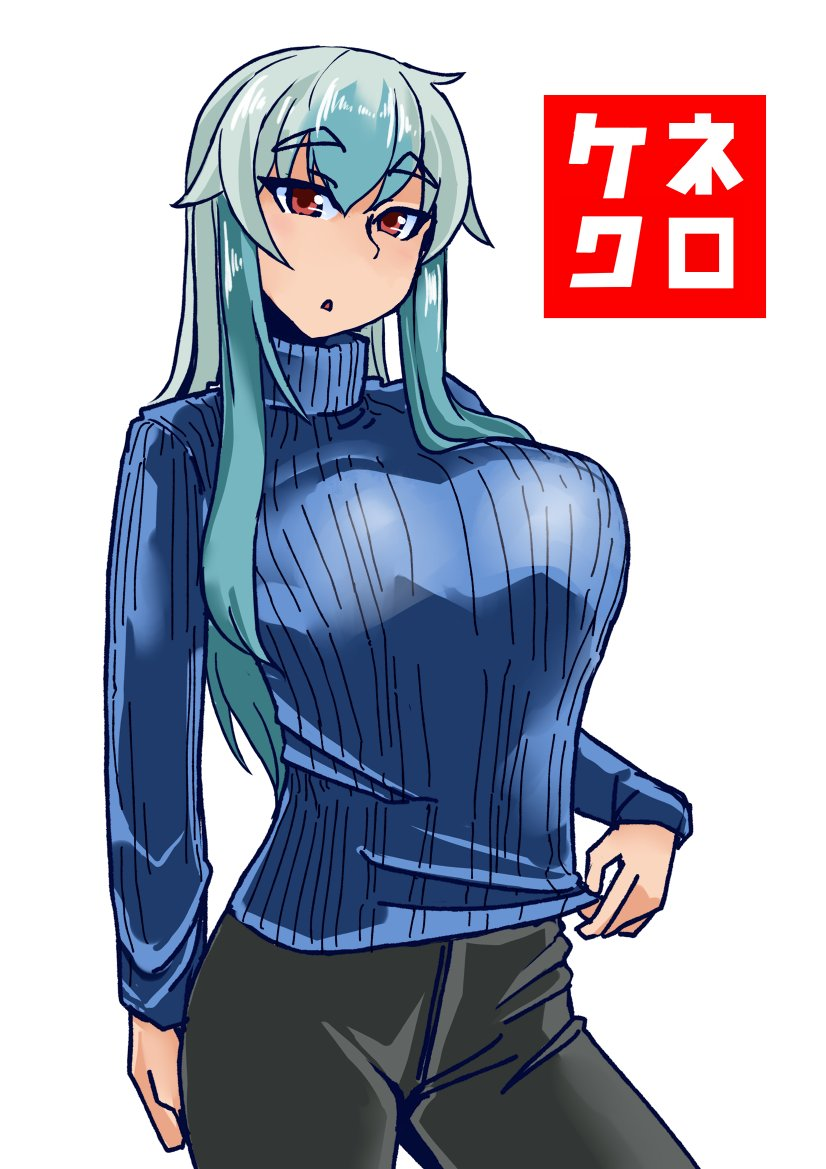 1girl alternate_costume aqua_hair black_pants blue_sweater brand_name_imitation breasts brown_eyes commentary cowboy_shot eyebrows_visible_through_hair green_hair heiseikorotaisei kamishirasawa_keine large_breasts long_hair looking_at_viewer multicolored_hair no_hat no_headwear pants solo sweater touhou translation_request triangle_mouth turtleneck turtleneck_sweater uniqlo white_background