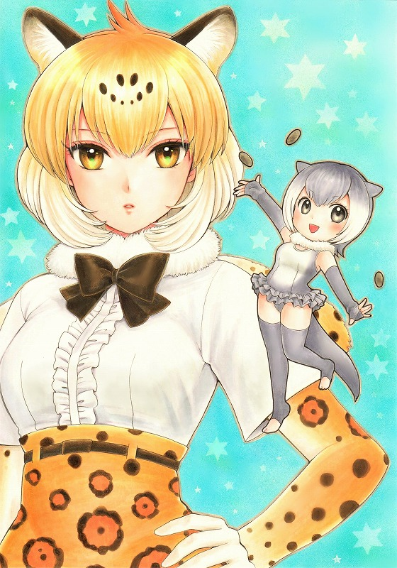 2girls :d arm_at_side arm_up bangs black_neckwear blonde_hair bow bowtie chibi elbow_gloves extra_ears eyebrows_visible_through_hair fingerless_gloves frilled_swimsuit frills full_body fur_collar gloves grey_eyes grey_gloves grey_hair grey_legwear hand_on_hip jaguar_(kemono_friends) jaguar_ears jaguar_print jyan_borii kemono_friends leggings lips looking_at_viewer multicolored_hair multiple_girls open_mouth otter_ears otter_tail outstretched_arms parted_bangs parted_lips print_gloves shirt short_hair short_sleeves small-clawed_otter_(kemono_friends) smile standing standing_on_one_leg stone swimsuit two-tone_hair upper_body white_hair white_shirt yellow_eyes