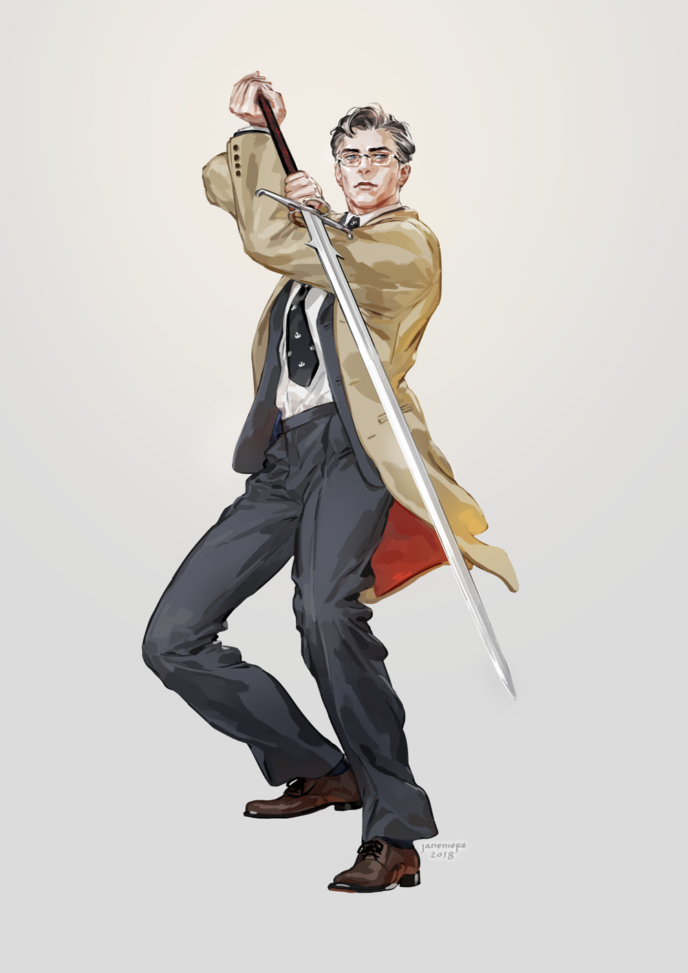 1boy 2018 arms_up artist_name black_neckwear black_pants blue_eyes brown_coat brown_footwear closed_mouth coat commentary_request fighting_stance forehead full_body glasses grey_background grey_hair highres holding holding_sword holding_weapon jane_mere lips long_sleeves looking_at_viewer male_focus mature necktie original pants print_neckwear shirt shoes simple_background smile solo standing sword weapon white_shirt