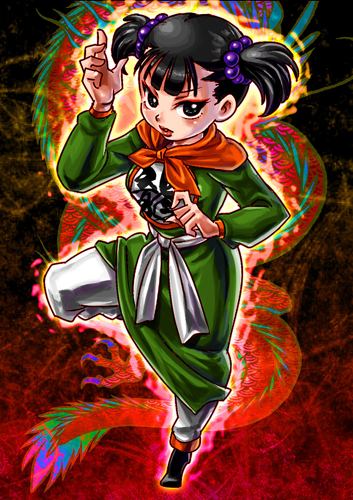1girl bangs black_eyes black_footwear black_hair blunt_bangs breasts chinese_clothes commentary commentary_request dragon dragon_quest dragon_quest_iii eastern_dragon eyeliner fighter_(dq3) fighting_stance lips long_sleeves looking_at_viewer makeup medium_breasts parted_lips red_background short_hair solo standing standing_on_one_leg suminoe_misaki tied_hair twintails