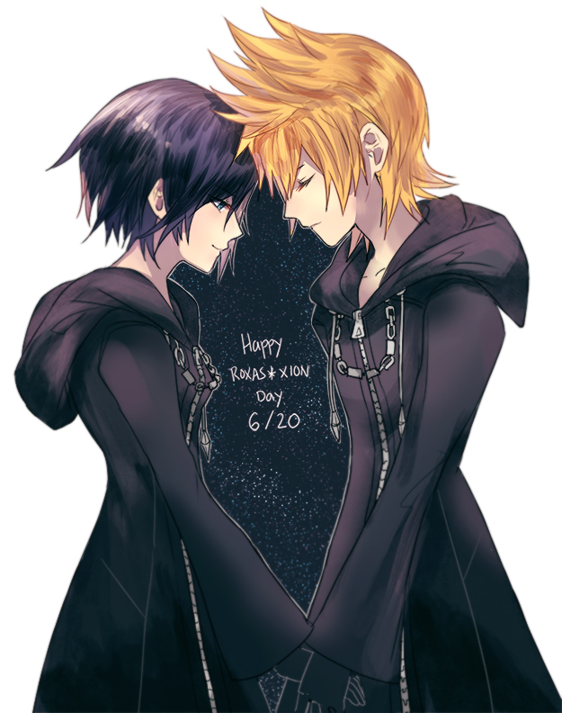1boy 1girl black_hair blonde_hair blue_eyes karudoll kingdom_hearts kingdom_hearts_358/2_days kingdom_hearts_ii medium_hair organization_xiii roxas xion_(kingdom_hearts) zipper