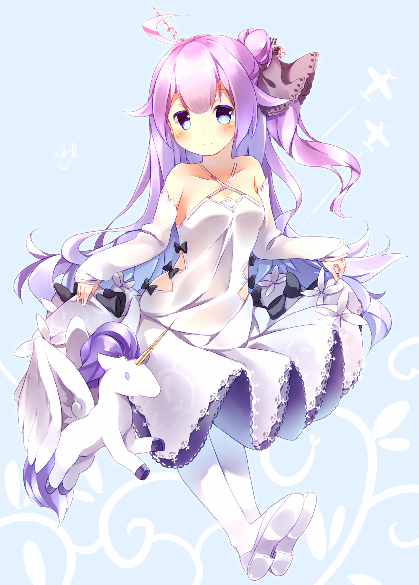 1girl ahoge akiaki_(mofumo-freak) alicorn animal azur_lane bangs bare_shoulders black_bow black_ribbon blush bow closed_mouth collarbone commentary_request criss-cross_halter detached_sleeves dress eyebrows_visible_through_hair full_body hair_bun hair_ornament hair_ribbon halterneck highres long_hair long_sleeves looking_at_viewer one_side_up pantyhose purple_hair ribbon shoes side_bun sleeves_past_wrists smile solo unicorn_(azur_lane) very_long_hair violet_eyes white_dress white_footwear white_legwear
