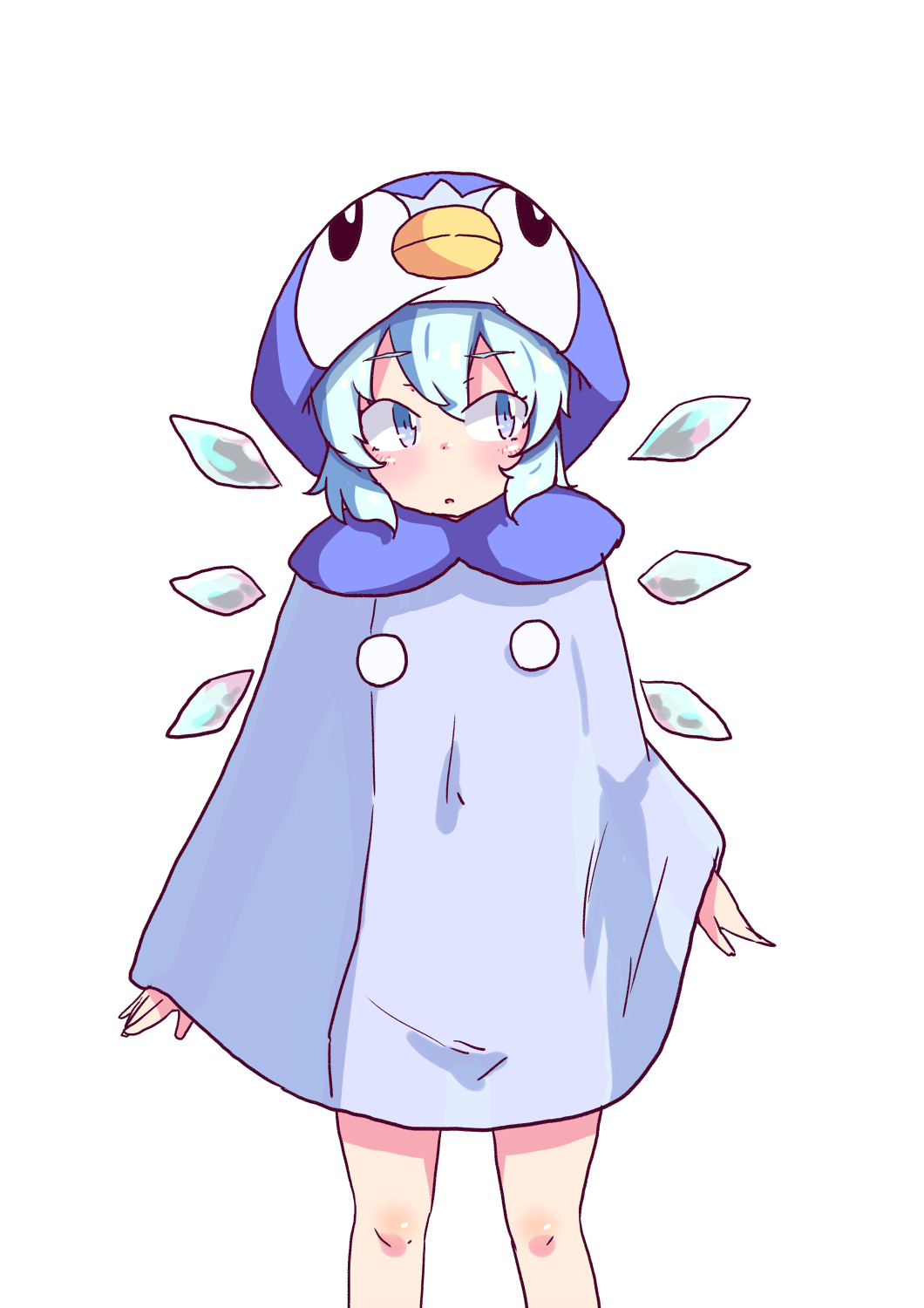 1girl :o alternate_hairstyle animal_costume arms_at_sides bangs blue_eyes blush cirno detached_wings eyebrows_visible_through_hair feet_out_of_frame highres ice ice_wings looking_away looking_to_the_side parted_lips penguin_costume piplup pokemon see-through_silhouette short_hair simple_background sokutenkun solo standing touhou white_background wings