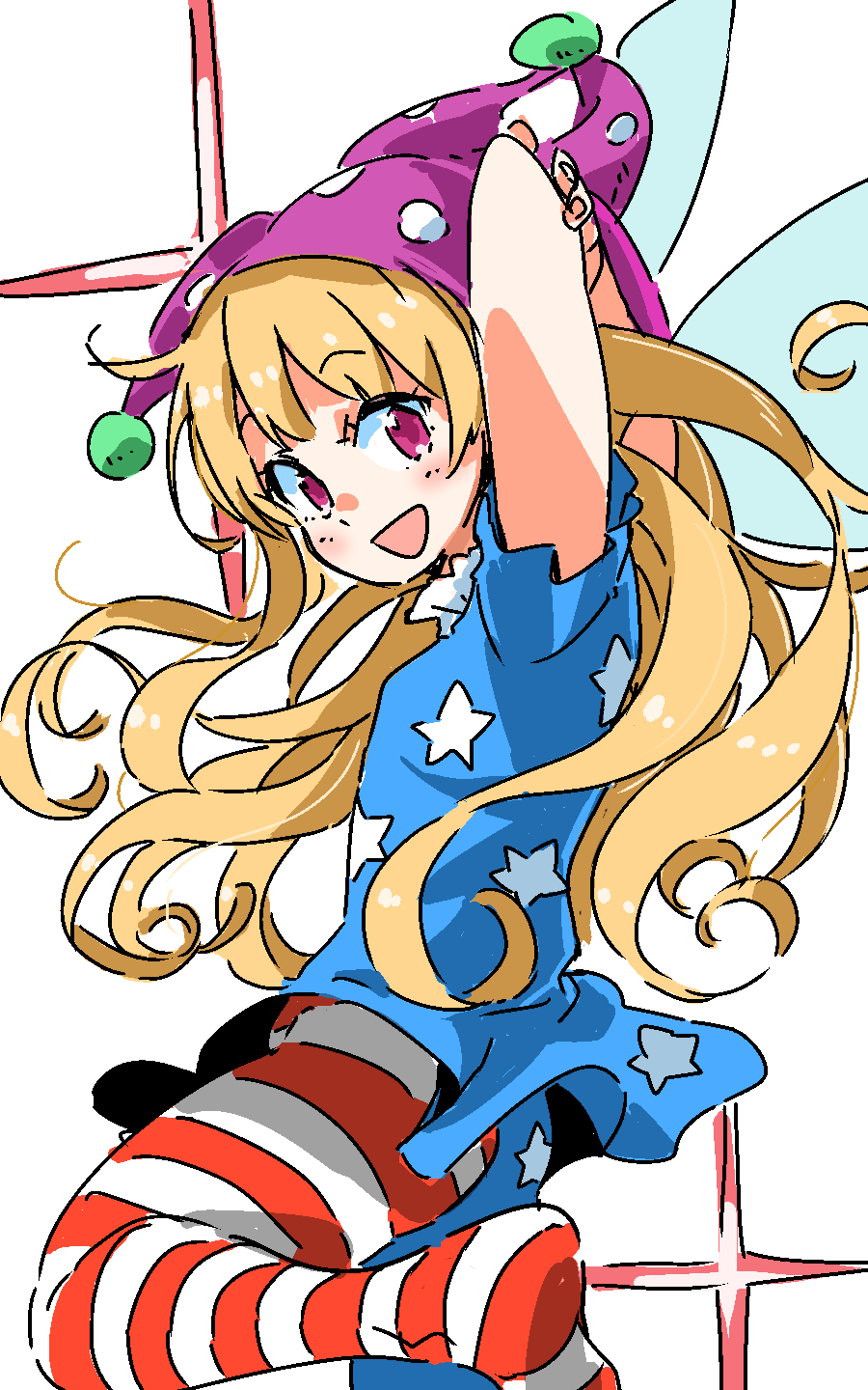 1girl :d american_flag_legwear arms_behind_head arms_up blonde_hair blue_dress blush clownpiece dress eyebrows_visible_through_hair fairy_wings from_side hat highres jester_cap leg_up long_hair looking_to_the_side mismatched_legwear no_shoes open_mouth pink_eyes pink_hat polka_dot_hat print_dress smile solo standing standing_on_one_leg star star_print tareme touhou very_long_hair wings zk_(zk_gundan)